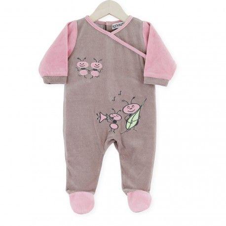 Pijama Hormiguitas #pijama #bebe #niña #hormiguitas #musica #marron #rosa #kinousses