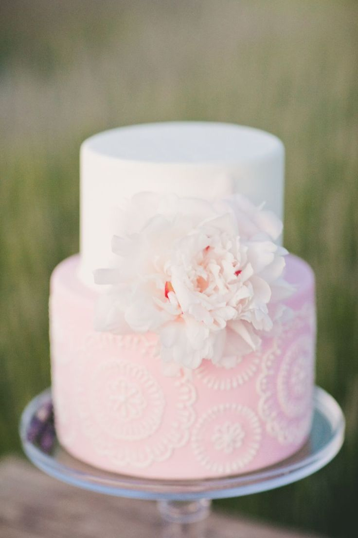 Sweet pink wedding cake  {Project Wedding styled shoot by Katelin Gallagher and onelove photography}
