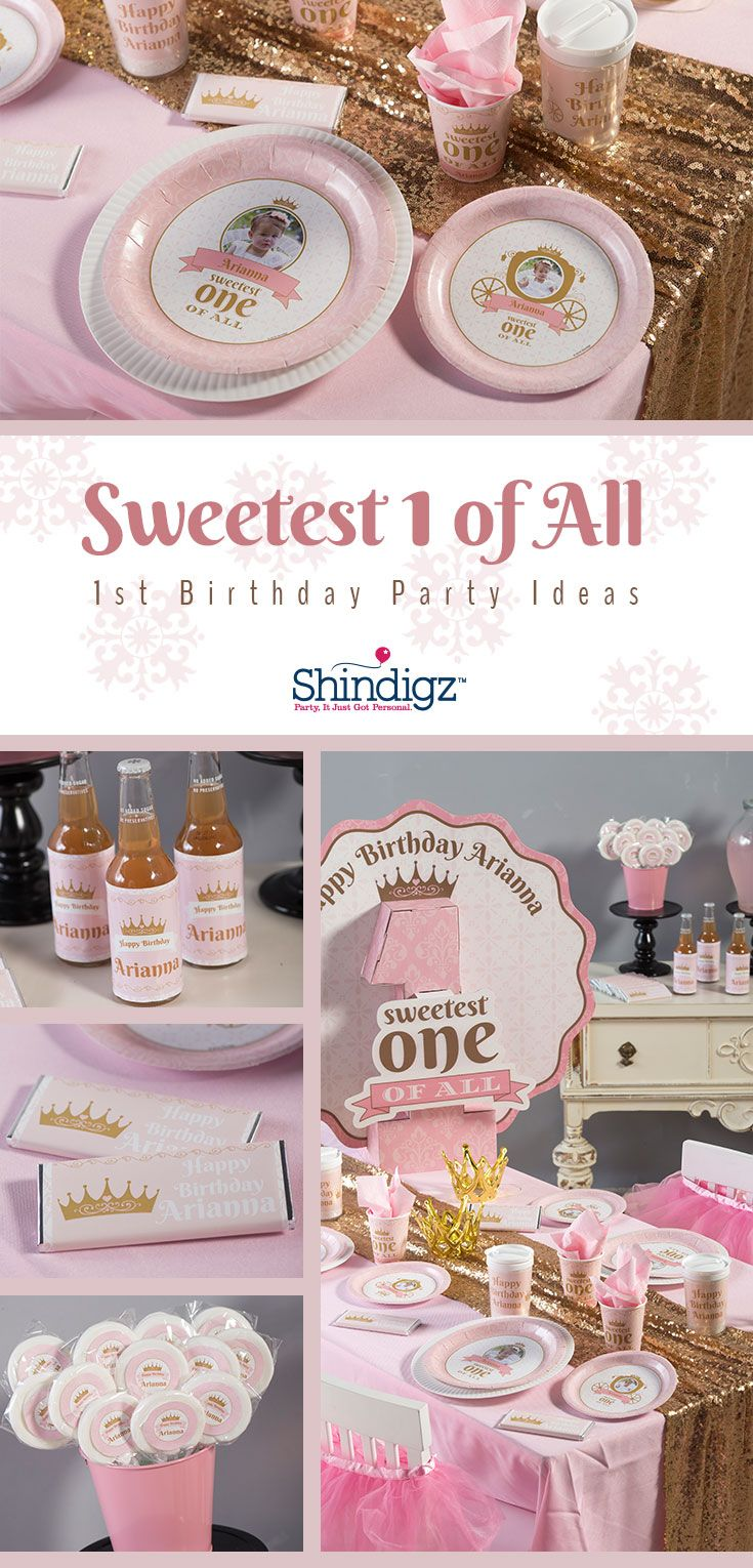 Celebrate your princessu0027s first birthday with our new Sweetest 1 of All party supplies. This collection includes personalized royal favors tableware ... & 116 best One!!! images on Pinterest | Birthdays First birthday ...