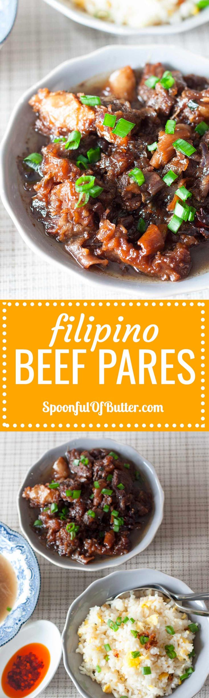 Beef Pares- one of my Filipino comfort foods...always served with fried rice and soup!