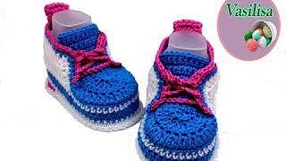 Crochet & Knitting Vasilisa - YouTube #babybooties how to crochet baby sneakers