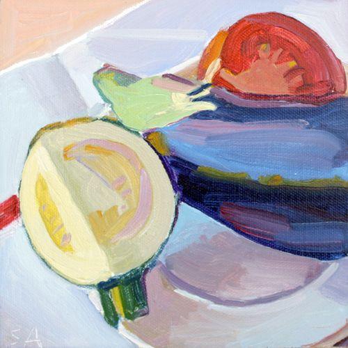 Courgett et Aubergine by Susan Abbott