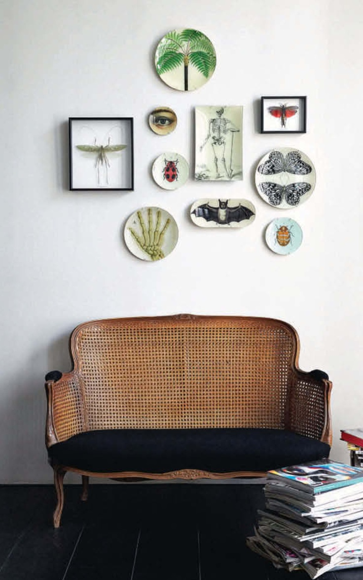 Lovely arrangement of wall plates- another example, this one includes shadowboxes