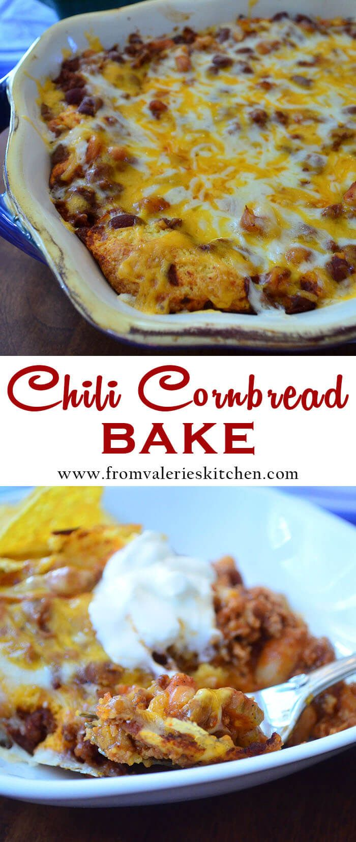 Lean, flavorful chili baked over a layer of cornbread and topped with lots of melted cheese. This Chili Cornbread Bake is the perfect casserole to serve at your next game day gathering or makes for a delicious meal any night of the week.