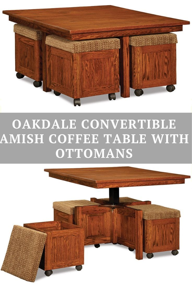 Oakdale Convertible Amish Coffee Table With Ottomans 2 050 00 Ottoman Coffee Table Coffee Table Convert To Dining Table Square Ottoman Coffee Table [ 1102 x 735 Pixel ]