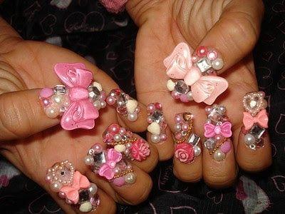 NailsByStephanie: Japanese Kawaii Harajuku Nail Art. What's more kawaii than pink, pearls and bows?