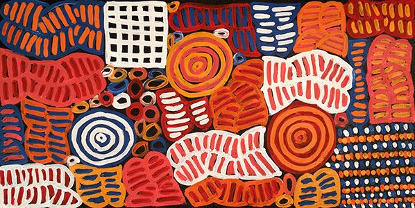 THE ARTERY Aboriginal Art - 'Body Paint for Women's Ceremony' is derived from the traditional practice of Aboriginal women 'Painting – Up' their bodies for ceremony. These designs are painted onto the chest, breasts, arms and thighs.  Elongated u-shaped motifs with horizontal lines between are representative of the designs painted on the breast and upper body. Concentric circles mark the Ceremonial site or where her Totem (Bush Melon) is located. Betty is custodian of this Dreaming story.