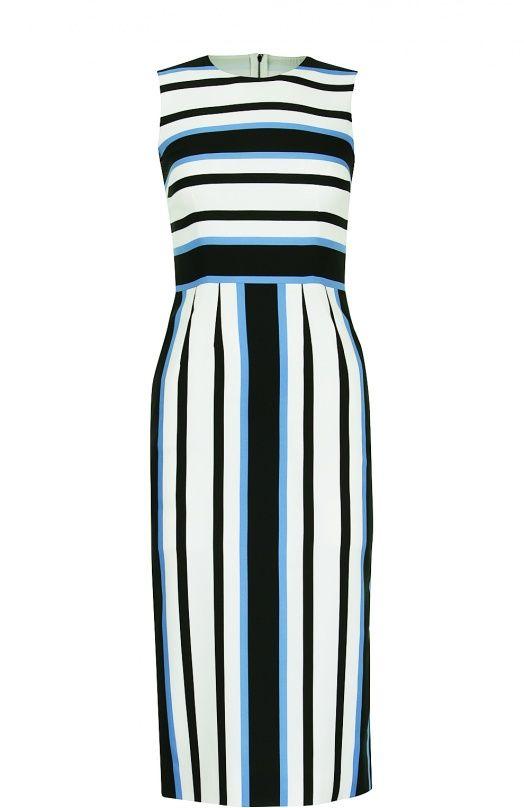 Женское синее приталенное платье без рукавов в полоску DOLCE & GABBANA — купить за 59950 руб. в интернет-магазине ЦУМ, арт. 0102/F6VF5T/FSA03
