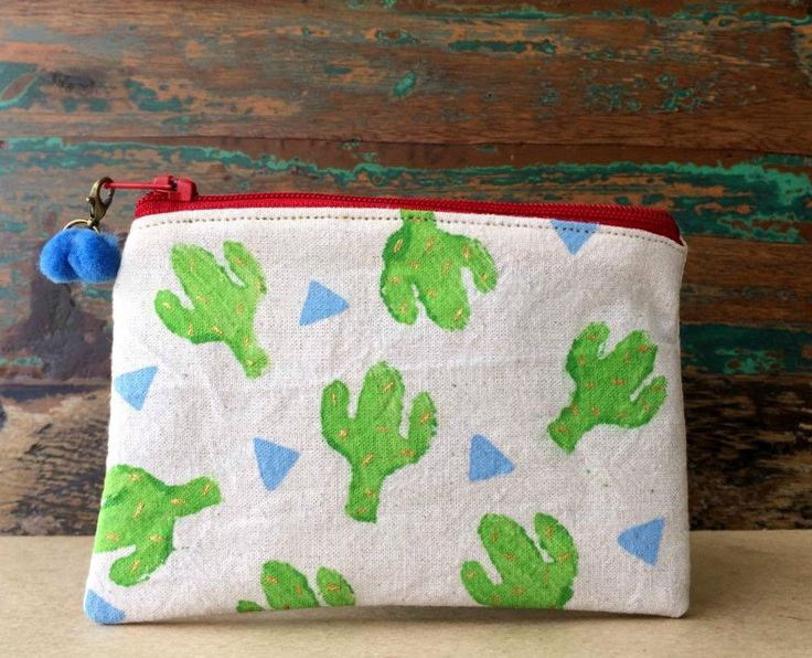 Pouch - Handmade Pouch - Block Printed Pouch - Beige Cotton Pouch - Green Mini Cactus Pouch by UniqueLulu on Etsy