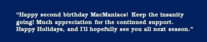 -- Tristan (message sent 11/29/13 to MacManiacs.org on the second anniversary of the website launch)