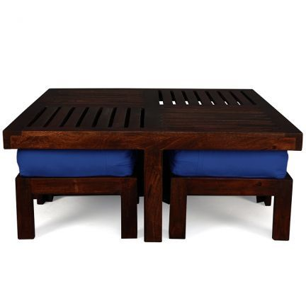 Elmwood Coffee Table With Four Stools (Cobalt Blue Color Upholstery),Coffee Tables