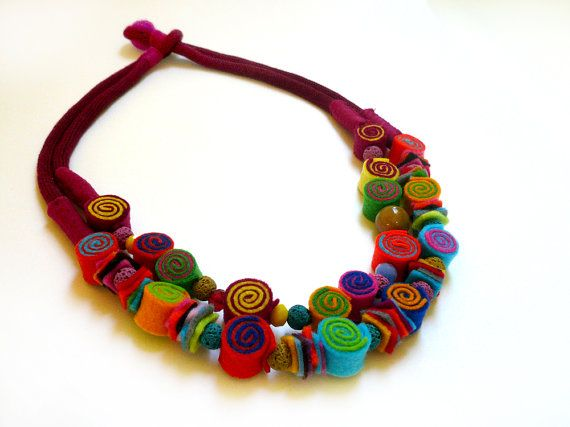 ► BEFORE PURCHASING PLEASE READ THE SHOP POLICIES AND THE DETAILS BELOW ◄  https://www.etsy.com/shop/BeadABoo/policy?ref=shopinfo_policies_leftnav  This is colorful felt necklace inspired by an amazing artist and woman, Frida Kahlo. It is full of colours and it will cheer you up every time you wear it. It is a very lightweight long necklace suitable for every woman and any occasion. The double cotton rope and the finishing is very delicate and equally beautiful with the rest of the…