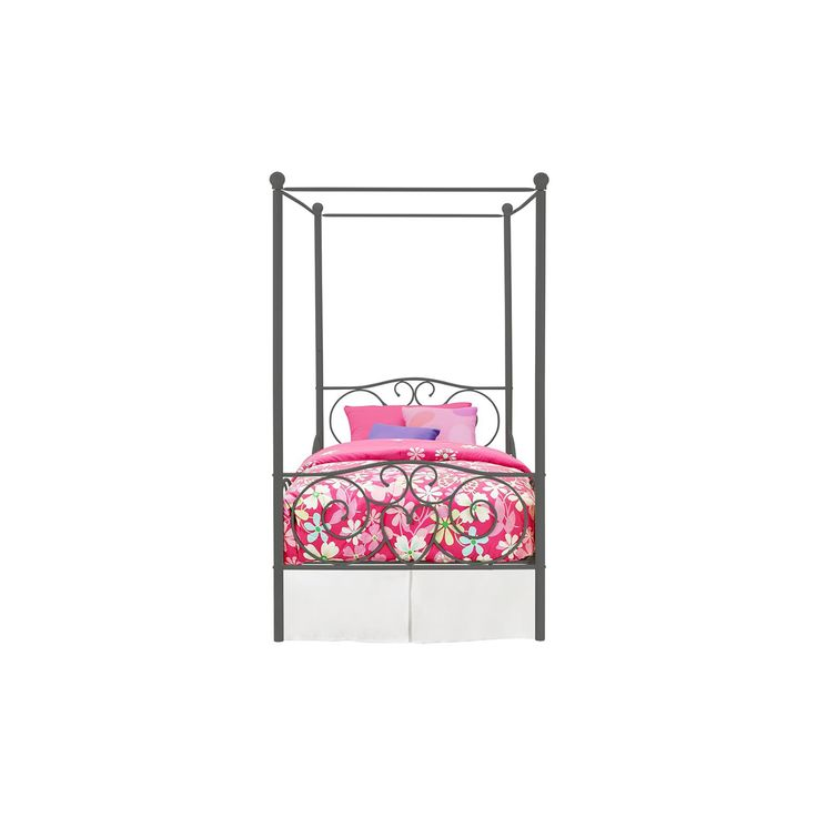 Rosedale Metal Canopy Bed - Twin - Gray -Dorel Home Products