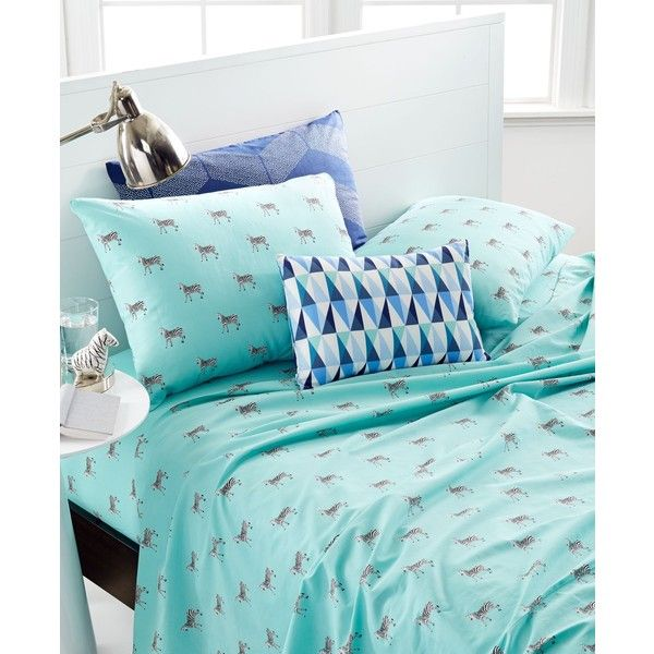 Martha Stewart Whim Collection Novelty Print 200 Thread Count Percale... ($60) ❤ liked on Polyvore featuring home, bed & bath, bedding, bed sheets, zebra, california king bed linens, martha stewart bedding, california king bedding, cal king sheet set and california king bed sheet sets