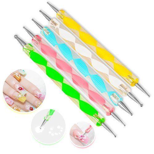 FurMune 5 St�ck Dotting Pen Punktierung Stift Marbleizing Werkzeug Nagellack Manik�re Dot Nail Art Set