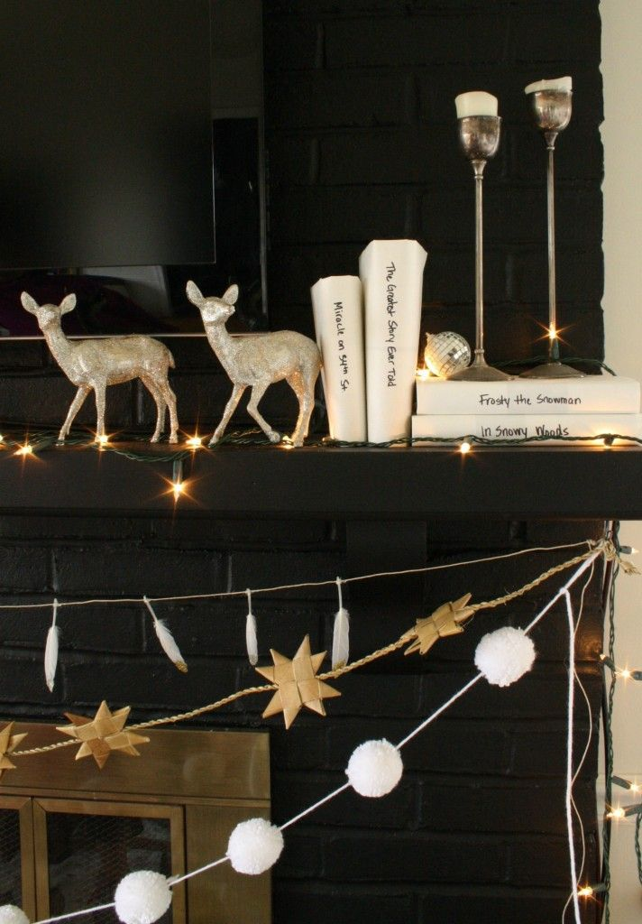 My Black White and Glimmering Eclectic Holiday Mantle