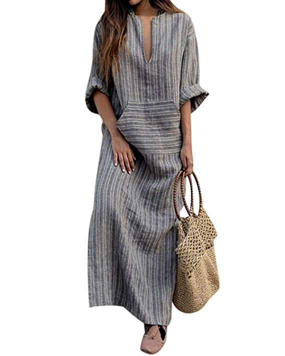 0121813574e LVCBL Women Summer Plus Size Striped Batwing Linen Cotton Loose Kaftan Casual  Dress Dark Gray S
