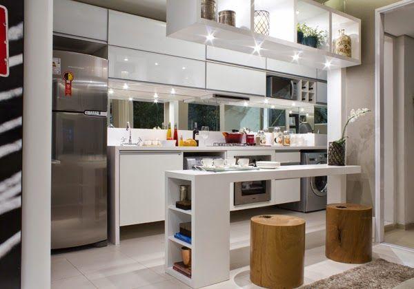 decoracao cozinha e area de servico integradas:Cozinhas e lavanderias integradas sem divisórias – veja ideias para