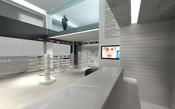 Pharmacy design, in Athens | Interior Designer | iidsk Kyriakos Serefoglou