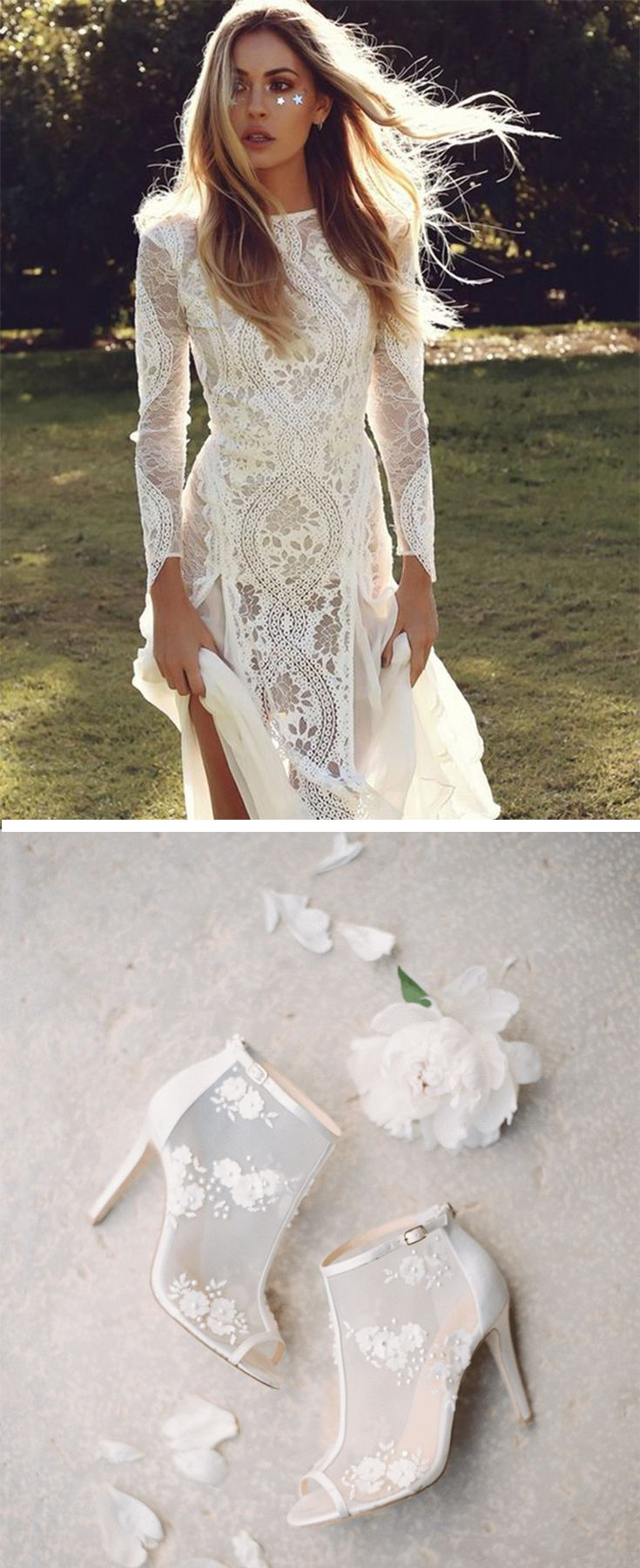 We Love Grace Loves Lace Boho Simple Vintage Wedding Dress With Sleeves Bridal That's Flowly And Romantic Pair Bella Belle Flower Embellished: Wedding Dress With Booties At Websimilar.org