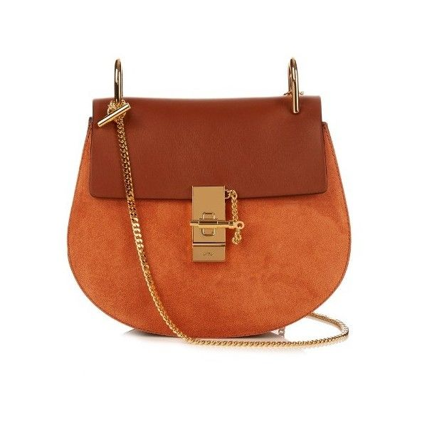 Chloé Drew small leather and suede cross-body bag ($1,950) ❤ liked on Polyvore featuring bags, handbags, shoulder bags, tan, crossbody purse, brown leather purse, leather crossbody handbags, brown shoulder bag and leather crossbody purse