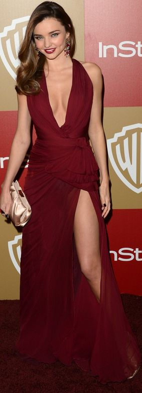 Who made Miranda Kerrs red halter plunging gown and sandals that she wore in Beverly Hills on January 13, 2013?
