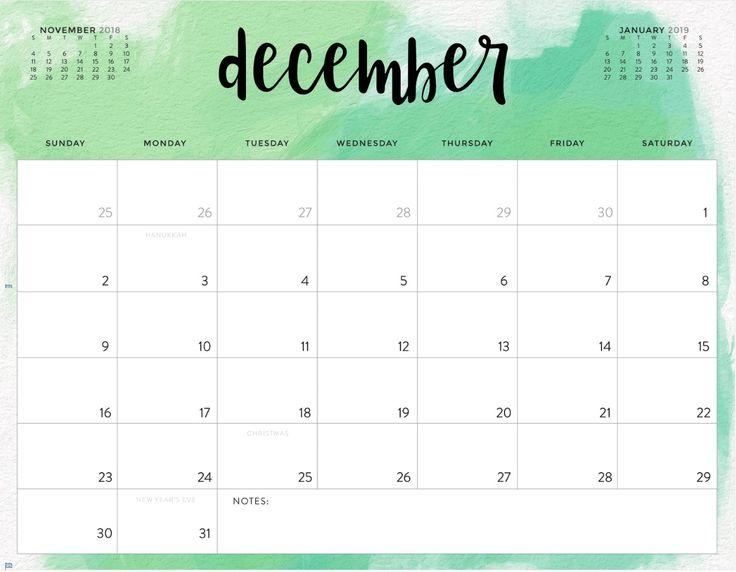 Calendar December 2018 Cute December 2018 Calendar Pinterest