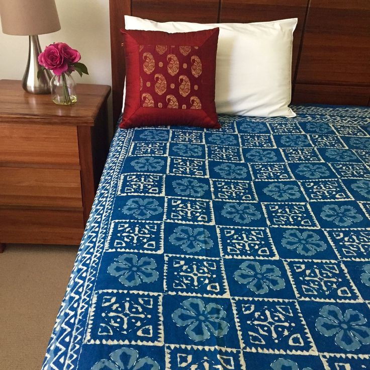 Indigo Kantha Quilt / Bedspread | The Hues of India
