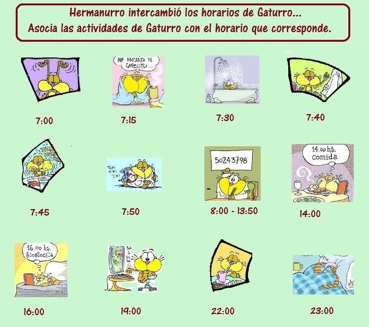 La rutina de Gaturro: Juego con los horarios. Corrección