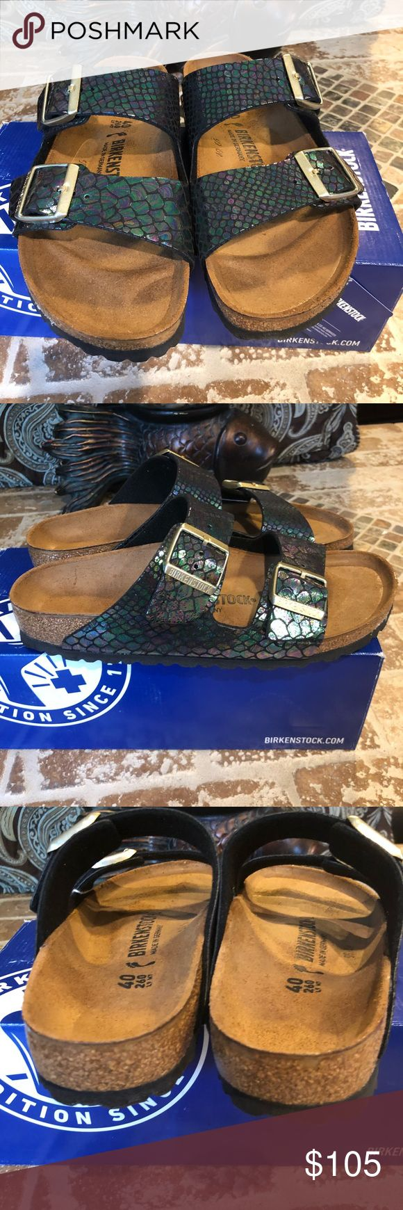 Birkenstock NWT Size 40 L9 Narrow Fit Brand new. Original box Arizona Birko-Flor Shiny Snake Black Multicolor The often imitated, never duplicated, category-defining, two-strap wonder from Birkenstock. A comfort legend and a fashion staple. With adjustable straps and a magical cork footbed that conforms to the shape of your foot, a truly custom fit is as effortless as the classic design. Birkenstock Shoes Sandals