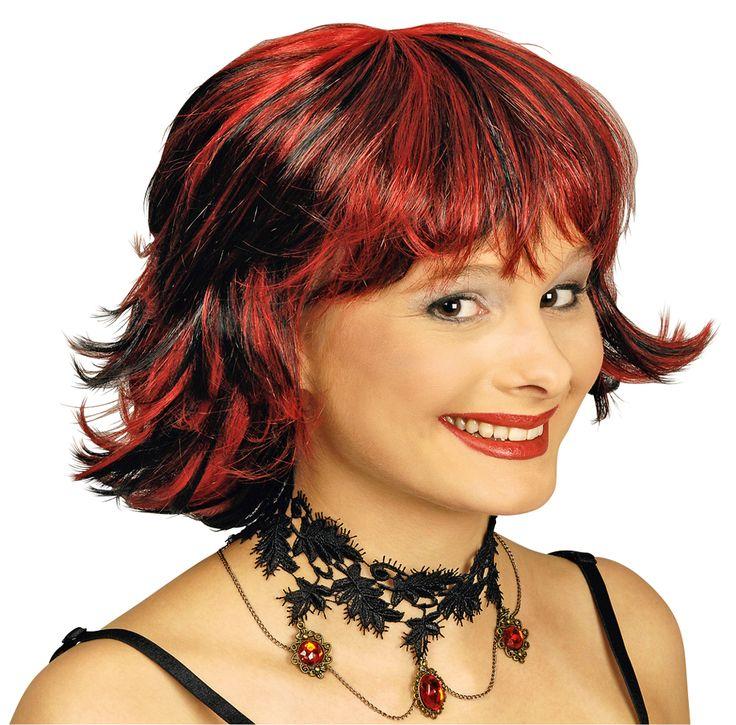 Das Halsband ist mit viel schwarzer Spitze gearbeitet und mit einer Metallkette sowie roten Schmucksteinen abgerundet. Dadurch ist die Spitzenhalskette ein besondes auffälliges Accessoire.