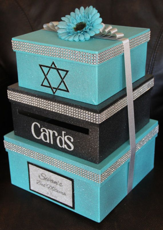 Custom Card Box Bat Mitzvah 3 Tier Card Holder by aSignofJoy