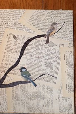 Bird and Text Collage Wall Art - Totally doing this for my office and maybe the master bathroom!