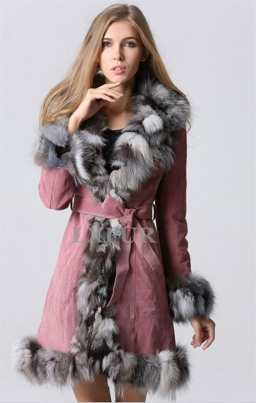 >> Click to Buy << Fashion Womens Genuine Leather Coat with Fox Fur Trim Parka Winter Warm Leather Overcoat Long Coat with Waistband LX00123 #Affiliate
