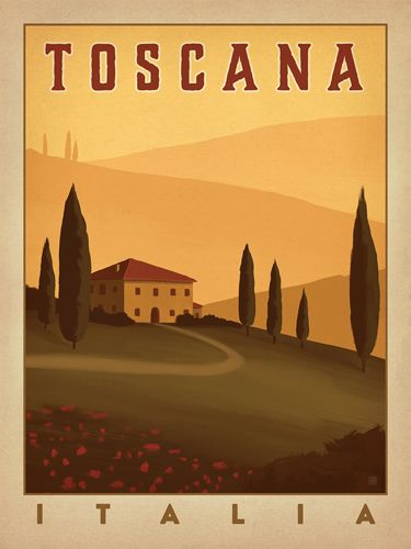 Italia: Toscana - We were inspired by vintage travel prints from the Golden Age of Poster Design (a glorious period spanning the late-1800s to the mid-1900s.) Printed on gallery-grade paper, this his romantic print of Tuscany, Italy is sure to be a conversation piece for years to come.<br />
