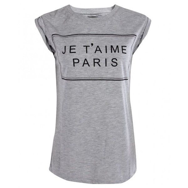 Second Female Womens Grey J'taime Paris T-shirt found on Polyvore