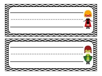 *FREE* Superhero Name Plates- 10 name desk name plates on black chevron paper. This product includes  both boy and girl superheroes.