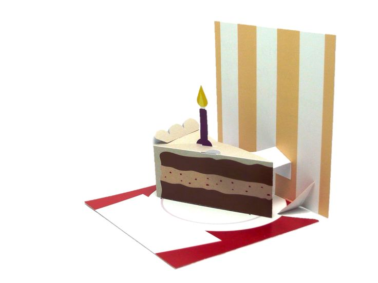 Pop-up birthday card with a 3D pop-up slice of birthday cake.