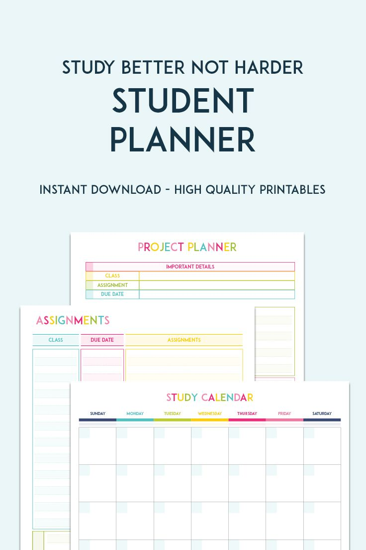 College Student Planner Printable Bundle 2018 Project