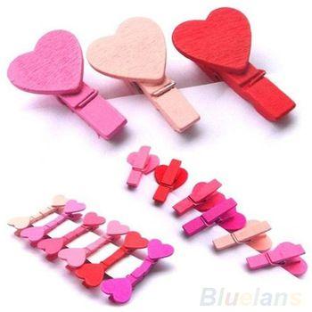 12 шт./пакет мини в форме сердца любовь деревянные одежда фотобумага Peg Pin прищепка суда клипы 03JD
