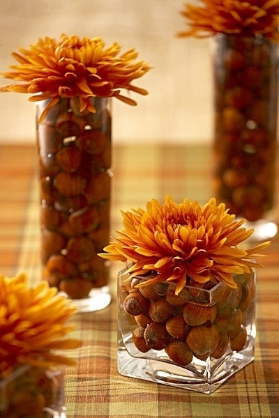Good idea for easy fall table decor