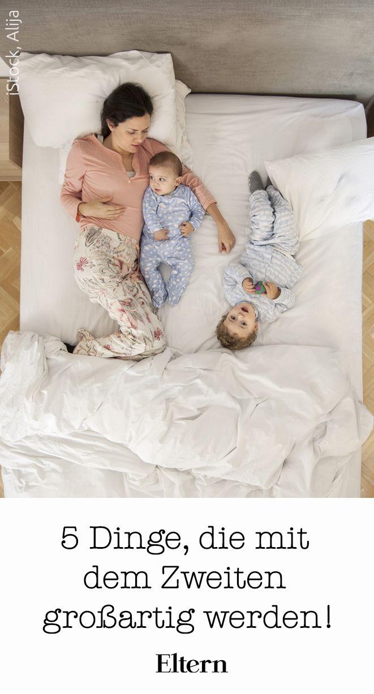 Nicht alles ist anstrengend mit zwei kleinen Kindern. Hier kommen 5 Dinge, die einfach großartig werden mit dem zweiten Kind! #zweiteskind #familie #wiederschwanger