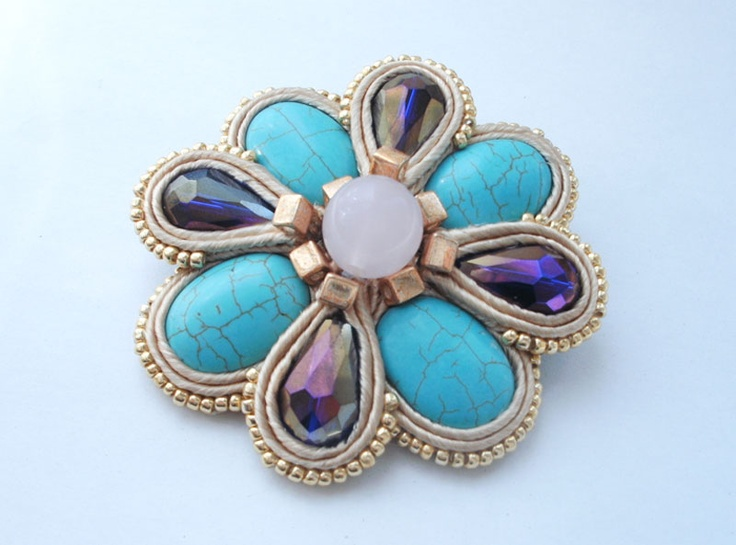 soutache mint & violet brooch
