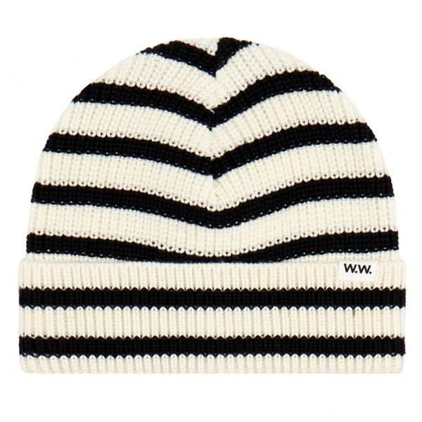 Wood Wood Off White and Black Striped Merino Wool Beanie Hat ($130) ❤ liked on Polyvore featuring accessories, hats, beanie cap hat, beanie hat, merino beanie, striped beanie and merino hat