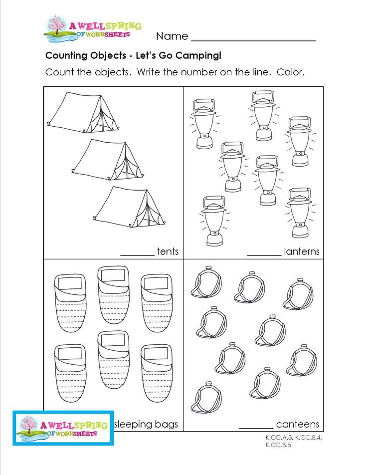 Camping Worksheets For Preschoolers : Best kindergarten math images on pinterest
