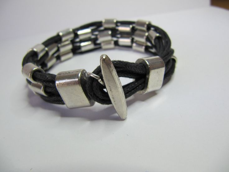Punk Style Bracelet, Multi Strand Bracelet with Metal Tubes and Cords, Cuff, Black & Silver. by BobbyandMeSew on Etsy