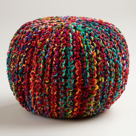 Multicolored Knitted Sari Pouf | World Market $89.99