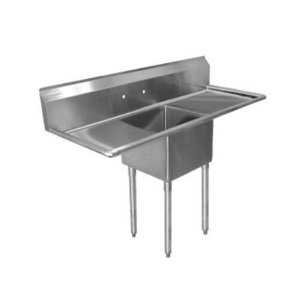 1 compartment stainless steel commercial sink with drainboards 17 x 17 x 12 inch for Commercial bathroom fixtures stainless steel