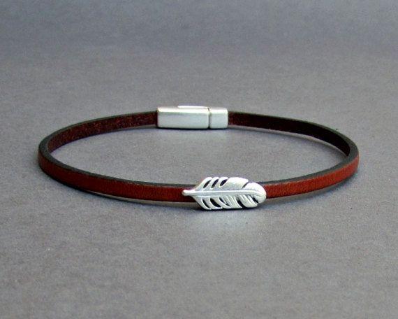 Feather Bracelet Mens Tiny Leather Bracelet Dainty by GUSFREE