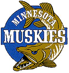 Minnesota Muskies Primary Logo (1968) - A fish on a blue circle with team name